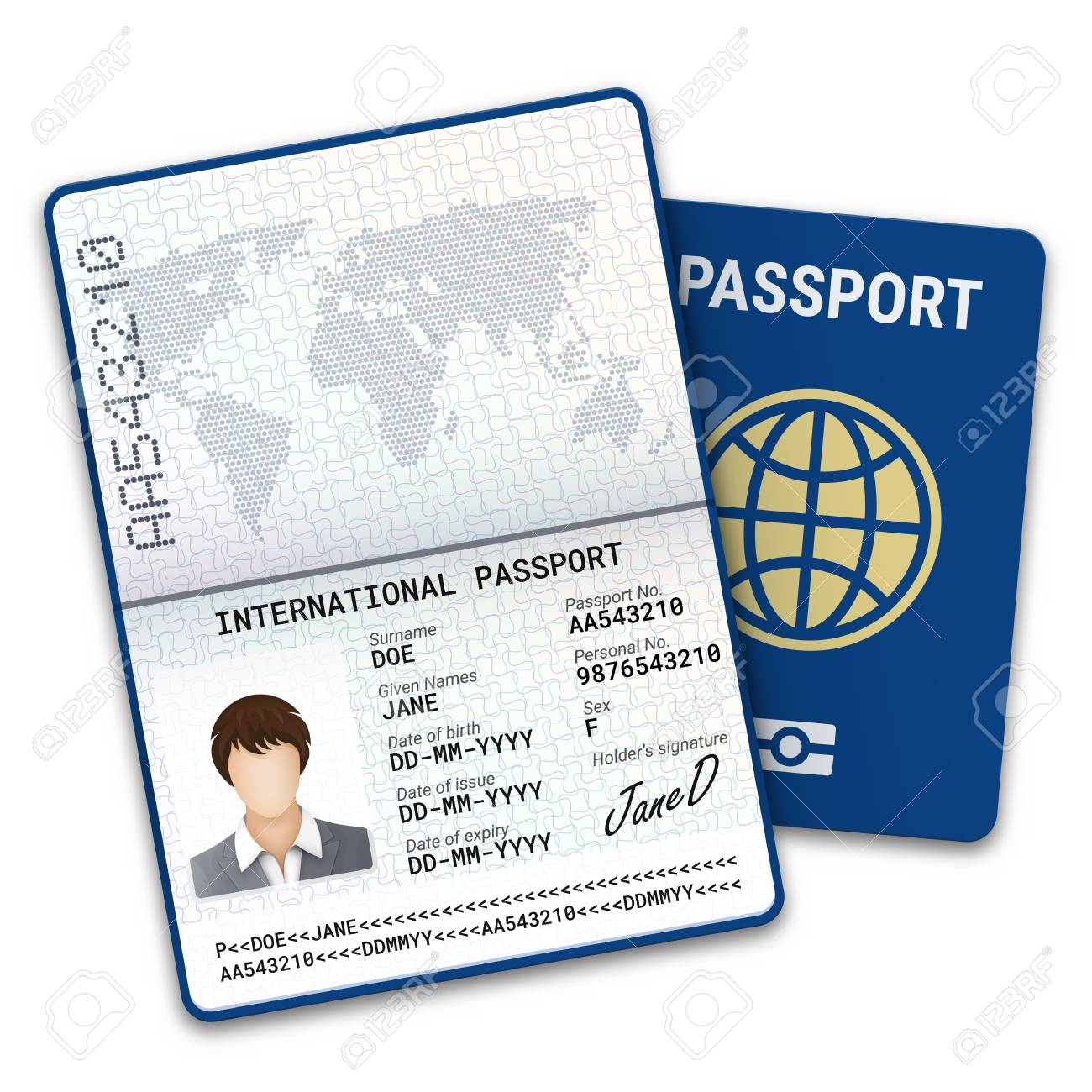 International passport template with biometric data identification