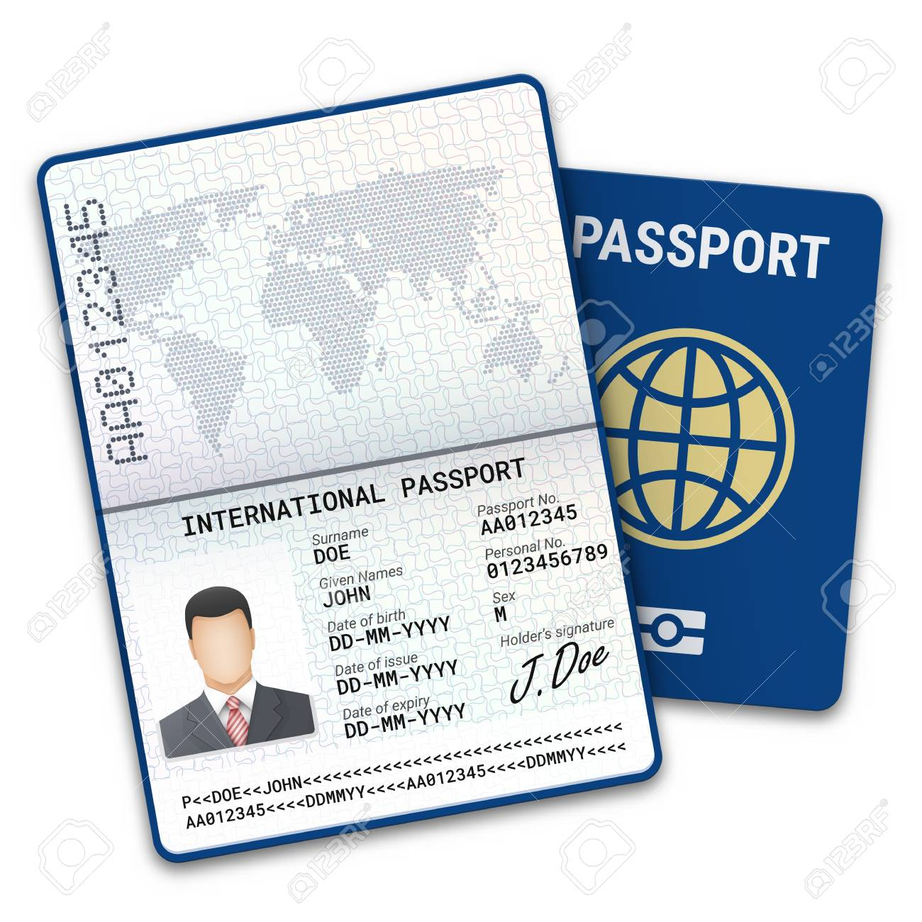 International male passport template with biometric data identification and sample of photo, signature and other personal data. Vector illustration - 96844540