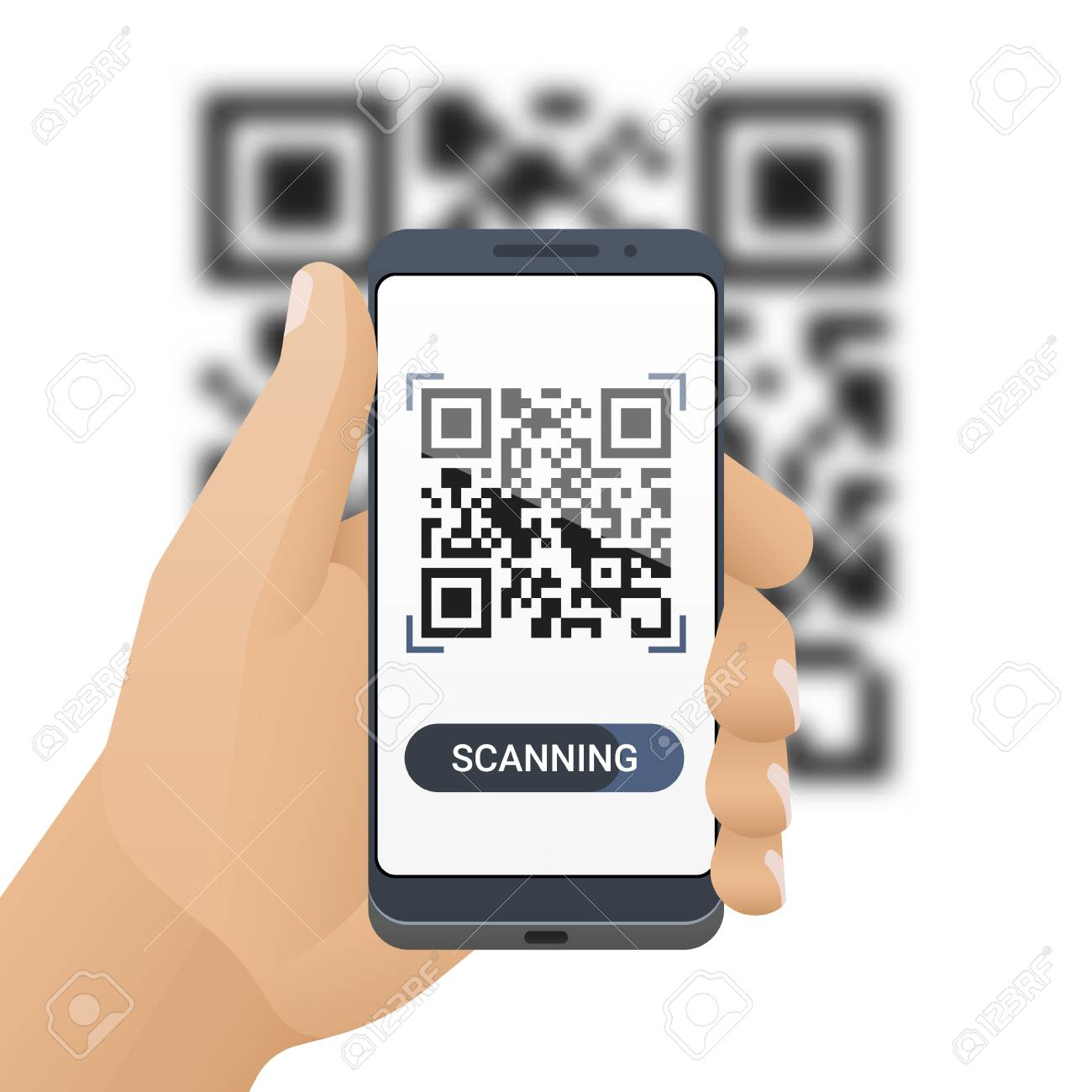 Smartphone in man's hand scans QR code  Barcode scanner application