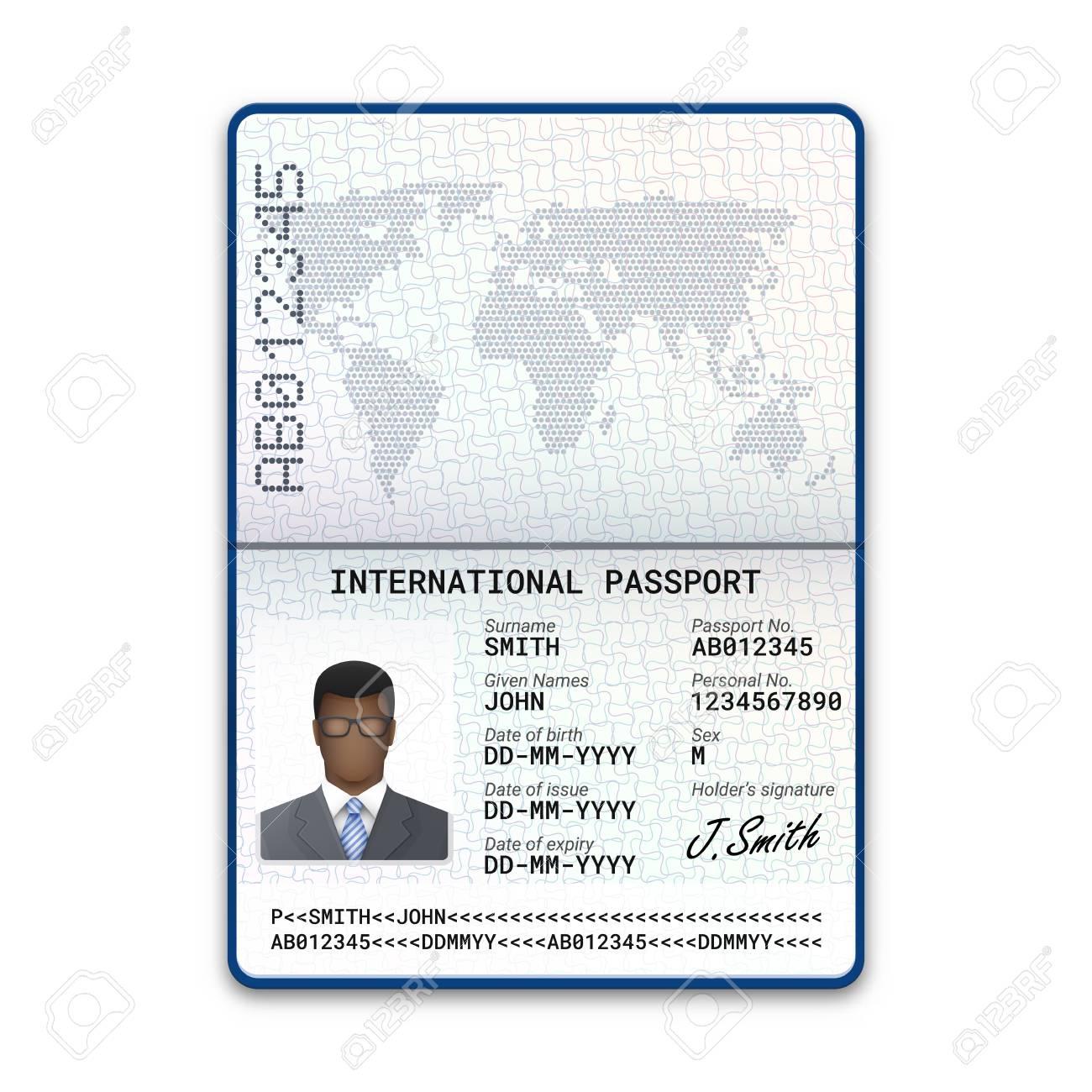 International passport template of the black man with sample