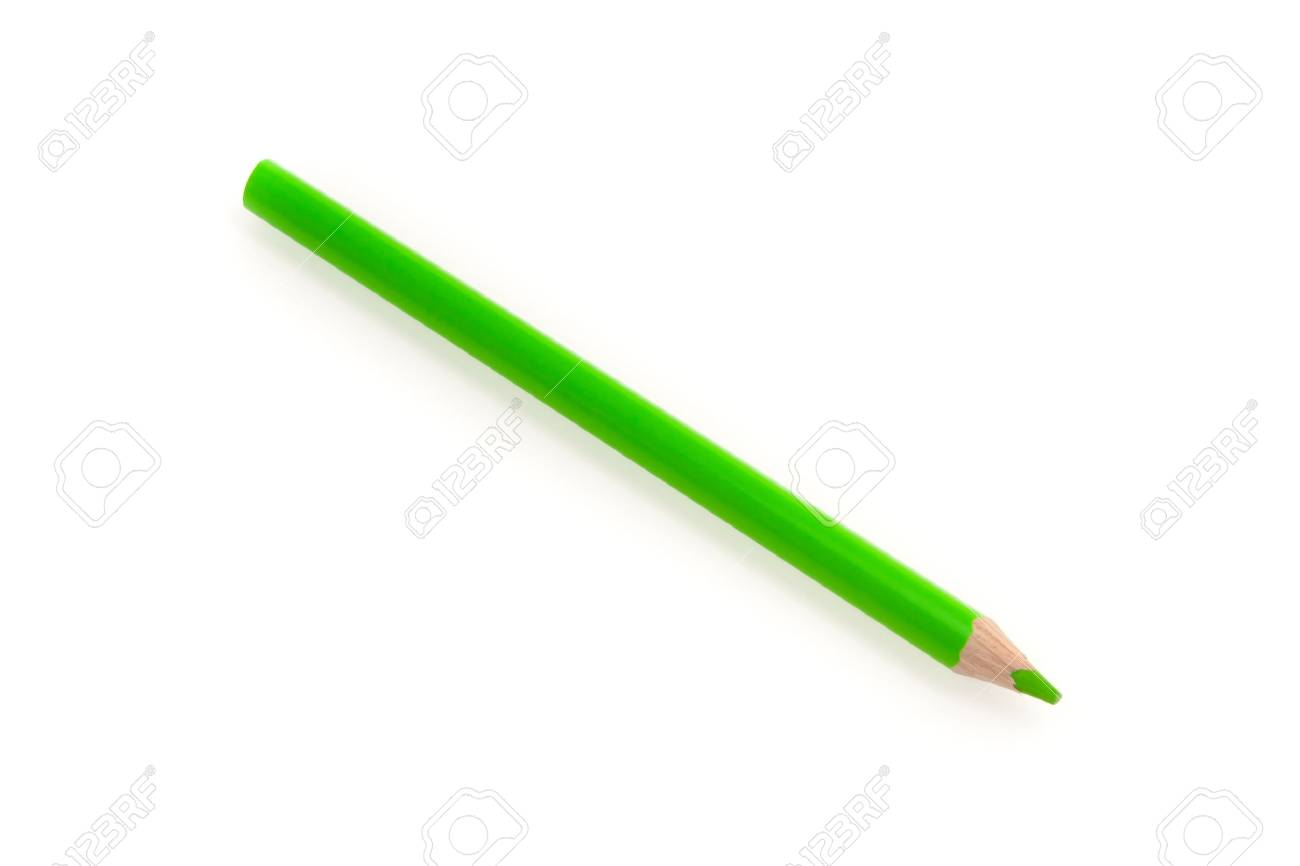 green pencil isolated on the white background - 15213972