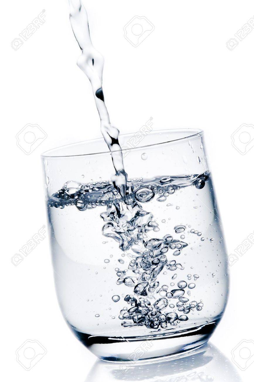 filling a glass with pure water on white background - 20272004