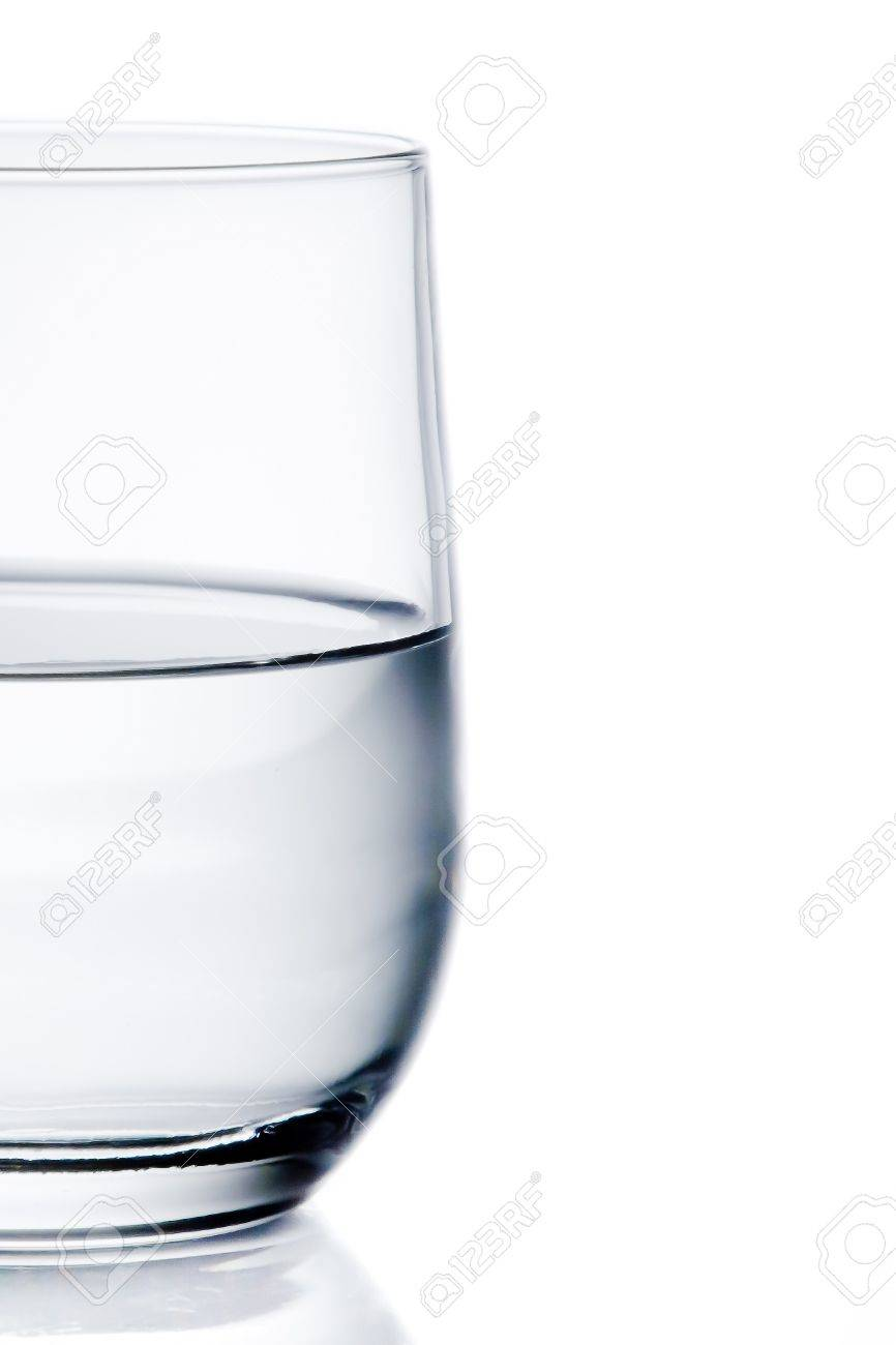 half glass of pure water with space for text on white background Stock Photo - 20272008