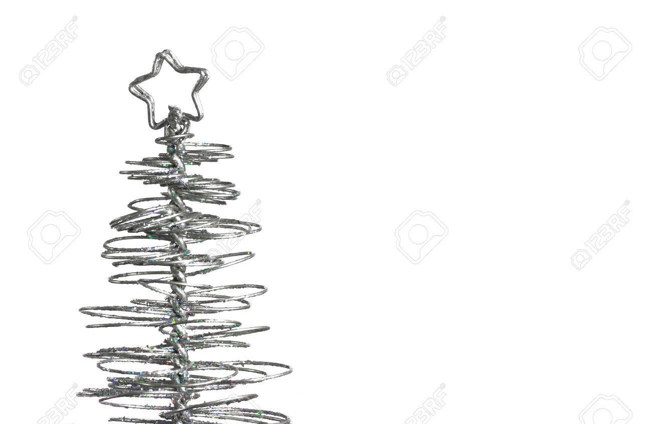 Modern Christmas Trees.Close Up Of Metallic Modern Christmas Tree On White Background