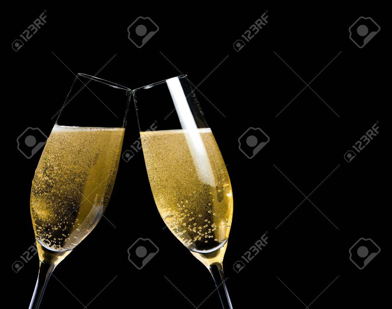 Champagne Bubbles Black Background