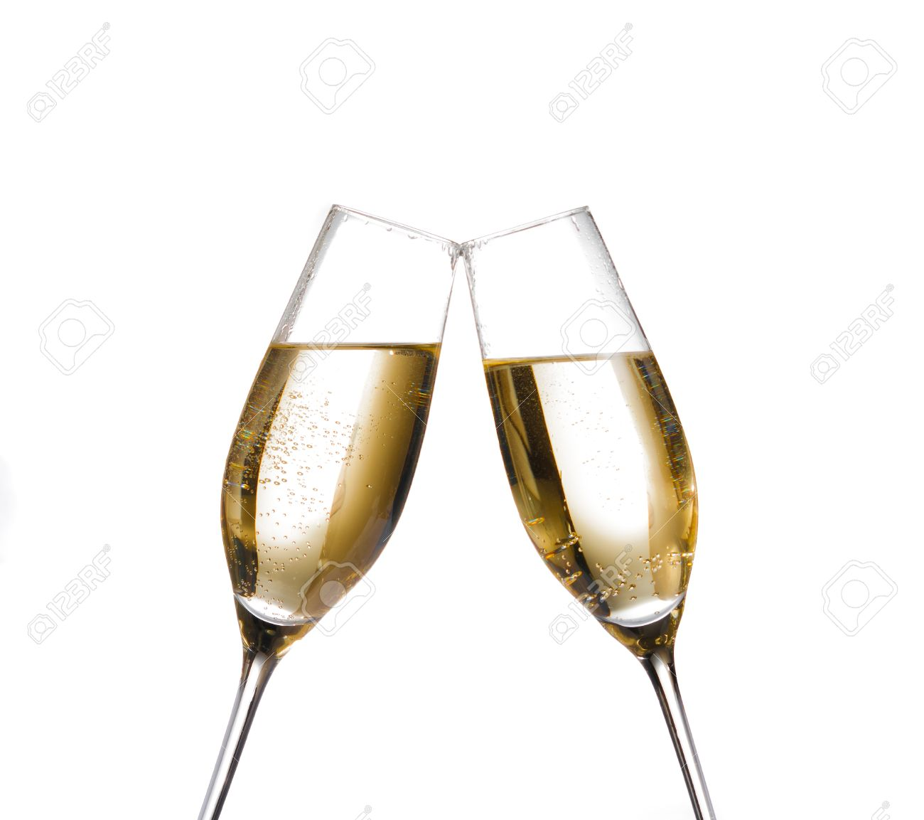 two champagne flutes with golden bubbles make cheers on white background with space for text - 25096305