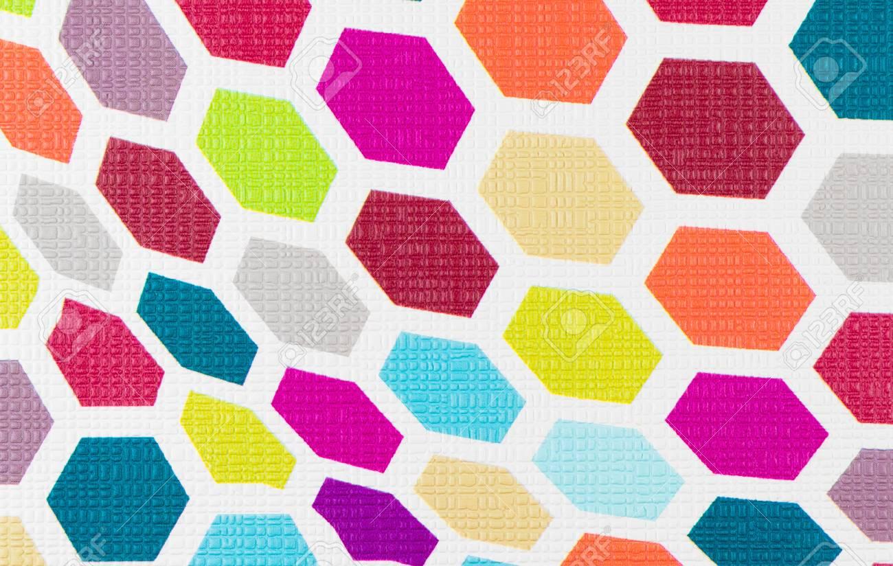カラフルな六角形の壁紙背景テクスチャ スタイルのポップの布地 の