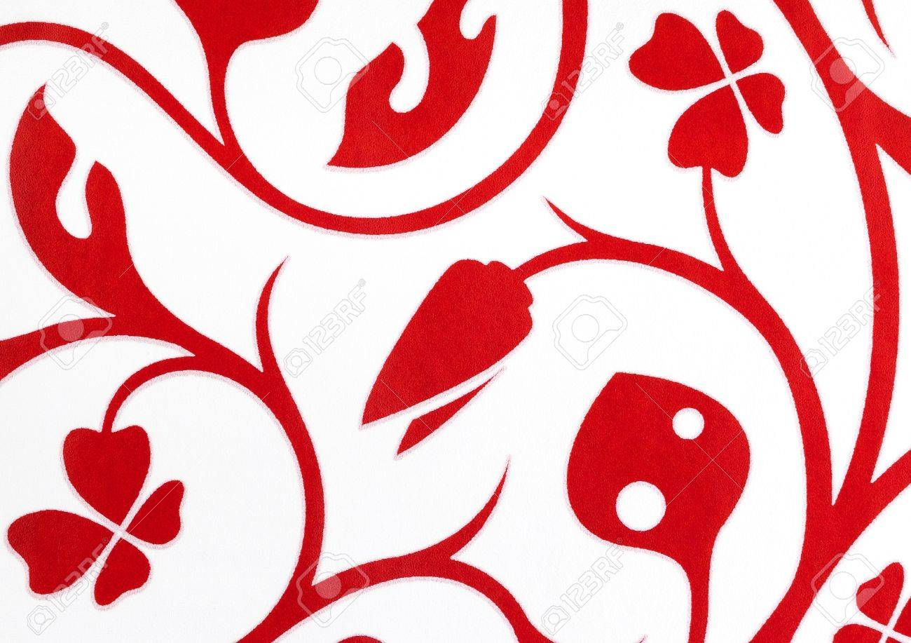 White With Red Flowers Fantasy Pattern Wallpaper Background Texture