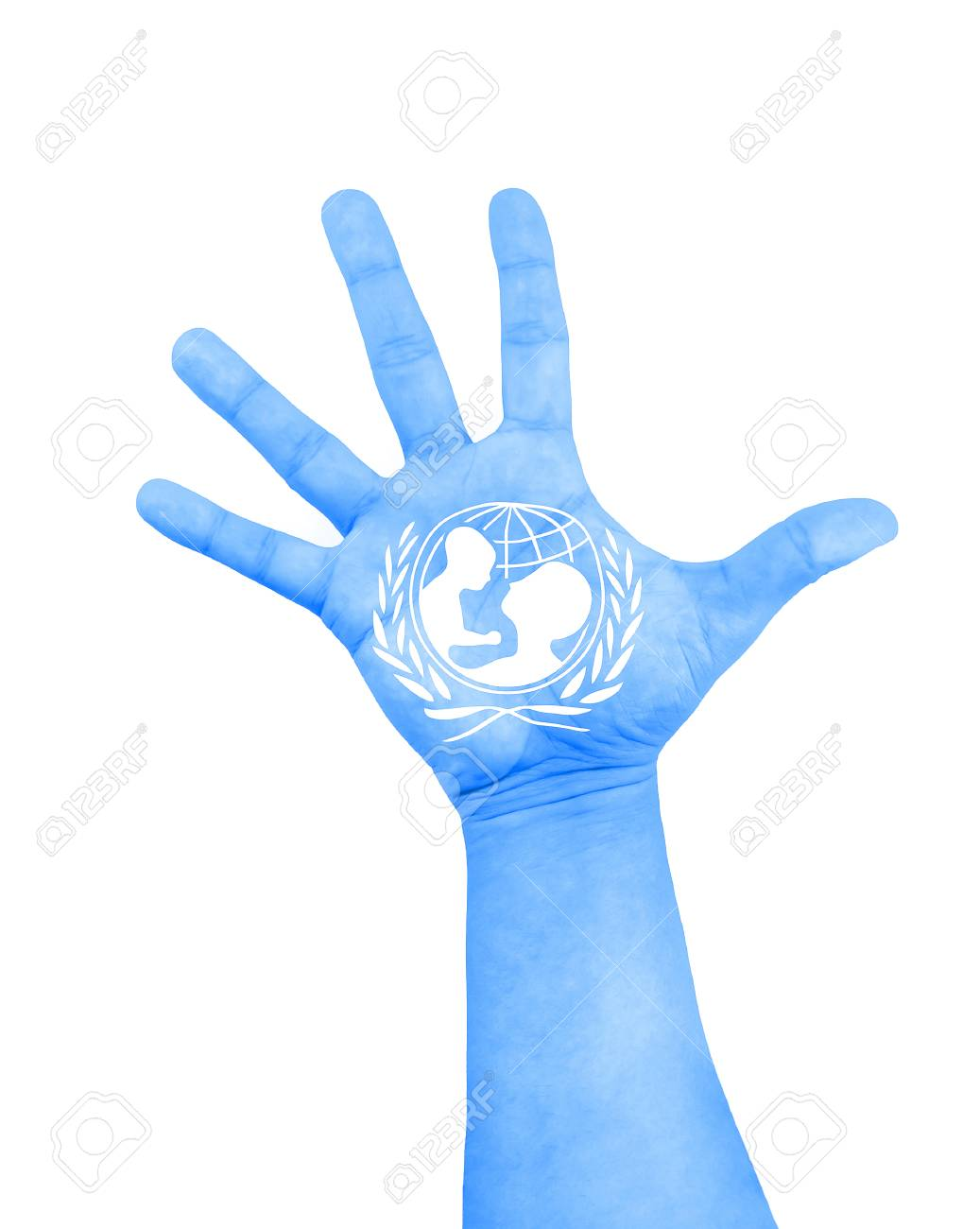 ROME, Italy - December 9, 2015: open hand raised with color blue and white of flag of unicef painted on white background - 68045075