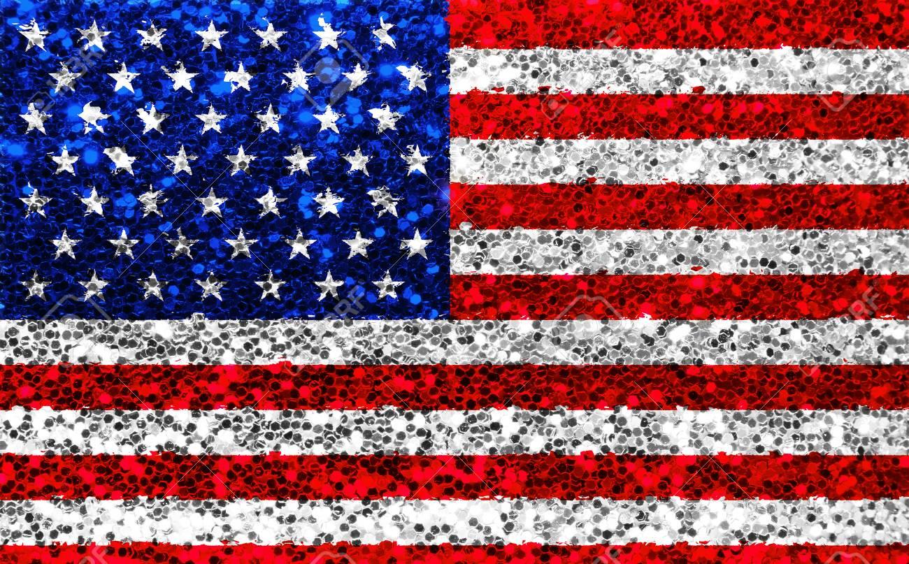 9298d5c4e519 Closeup Of American USA Fabric Glitter Flag