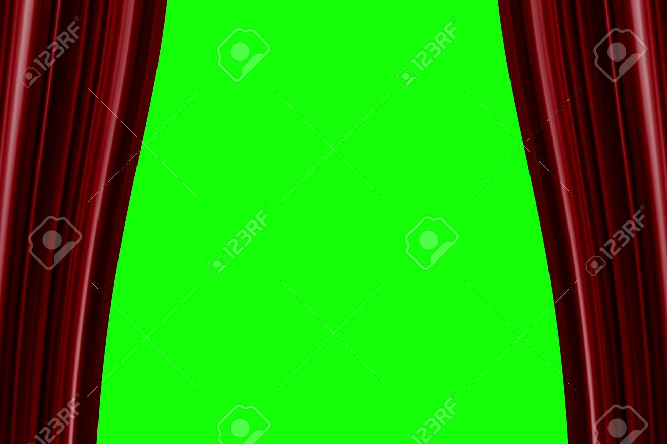 Red Curtain Opening Background, With Chroma Green Screen,theater Cinema  Show Event Stock Photo