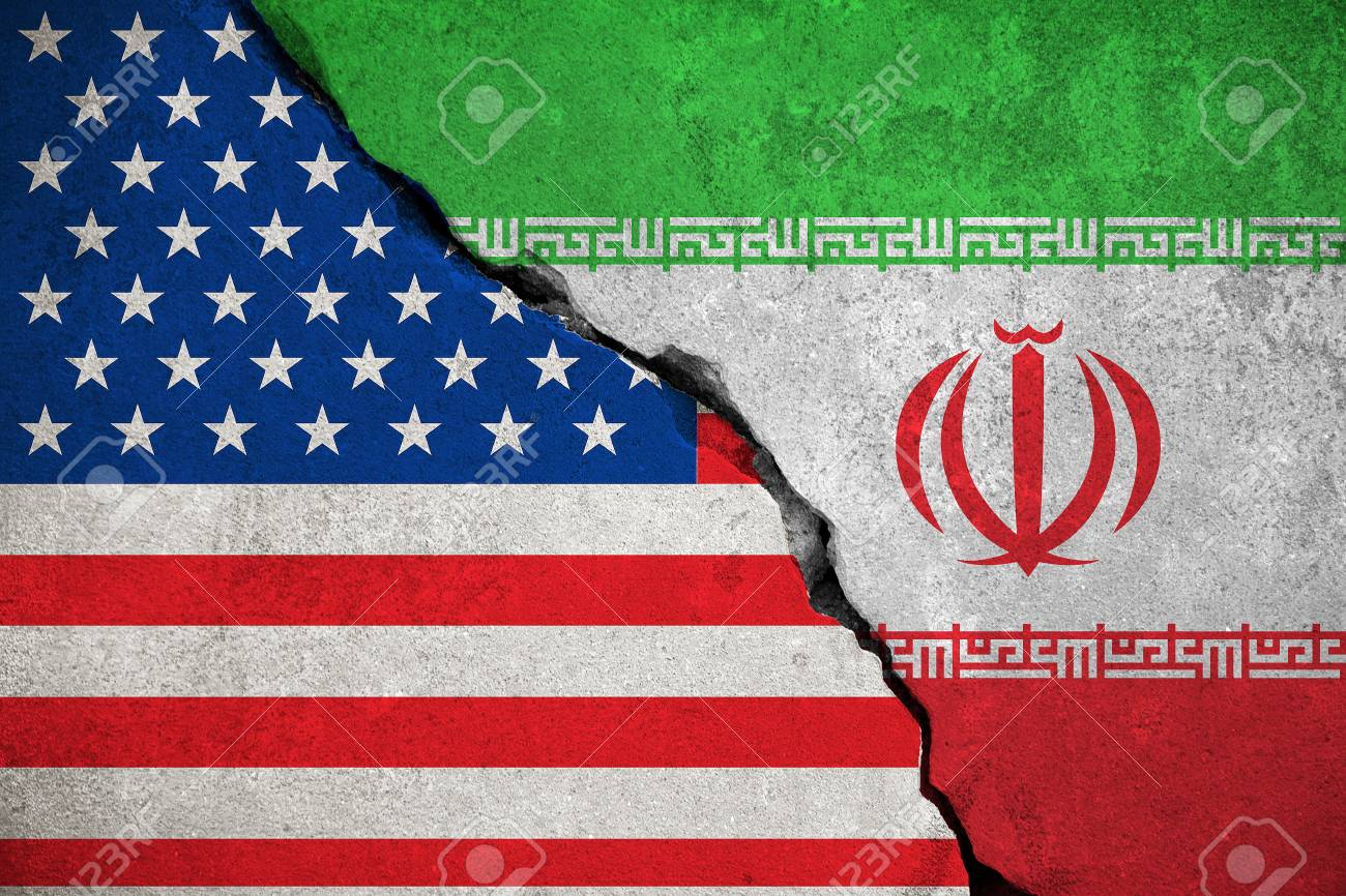 iranian flag on broken wall and half usa united states of america flag, crisis trump president and iran for nuclear atomic risk war concept - 72185855
