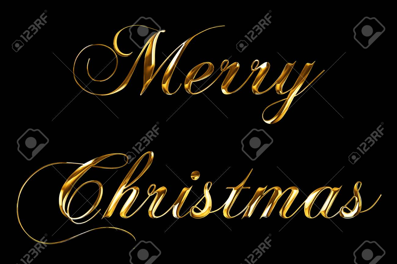 vintage yellow gold metallic merry christmas word text with light