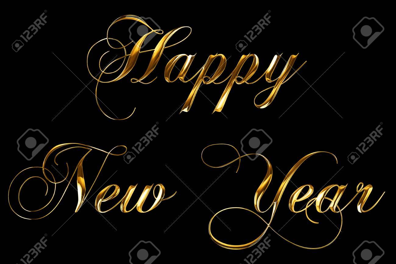 vintage yellow gold metallic happy new year 2018, 2019, 2020,
