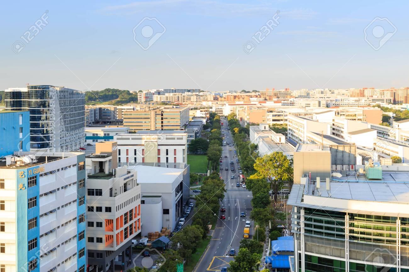 Singapore-04 JUN 2018: Singapore ubi area industry zone aerial view - 132192269