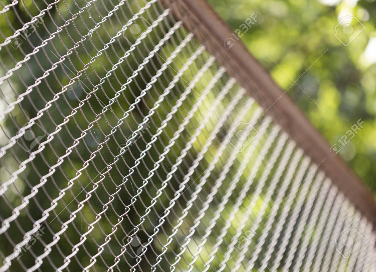 Gruner Draht Zaun Auf Den Hintergrund Von Grunen Baumen Lizenzfreie