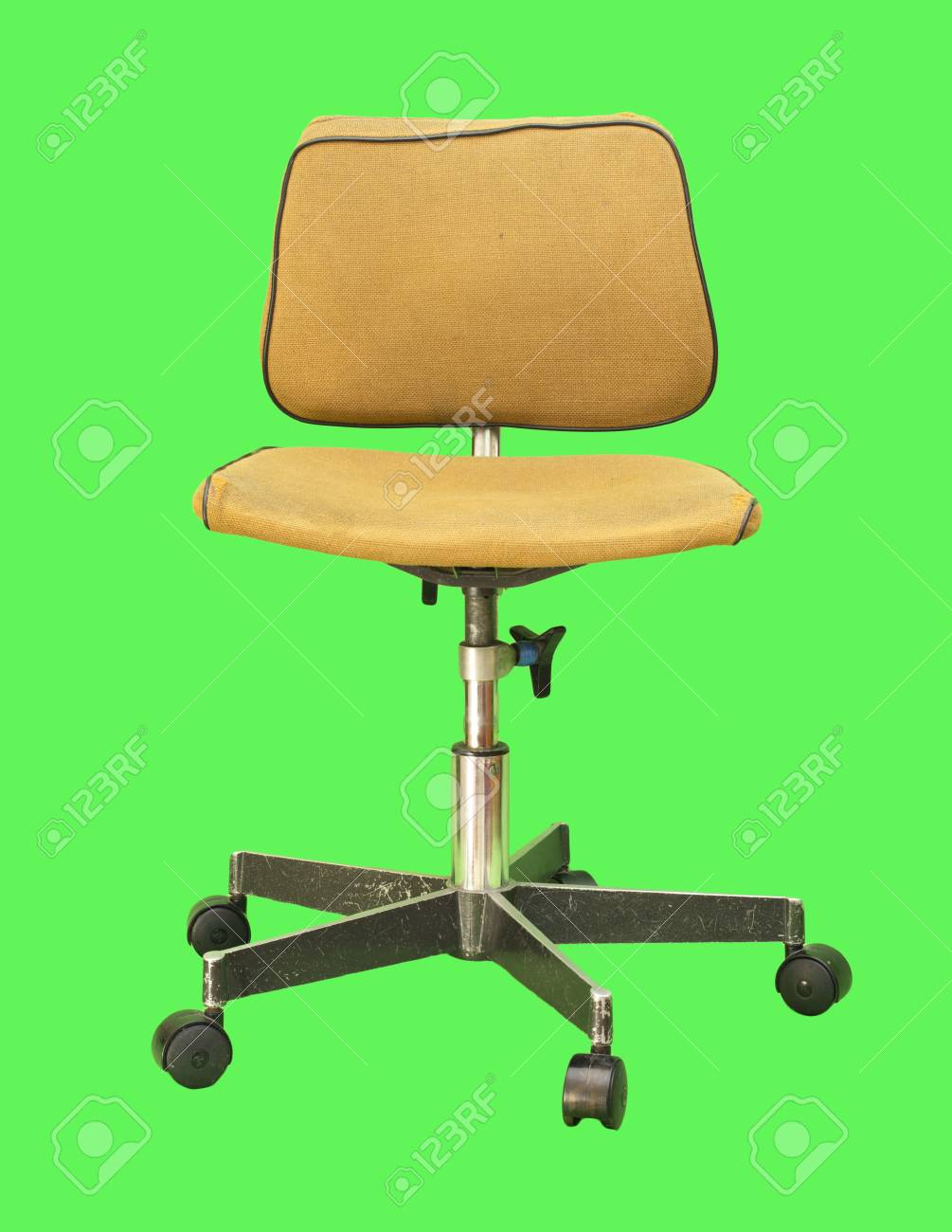 Old Computer Chair Isolated On A Green Background