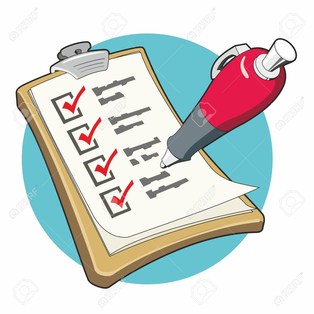 checklist with red ballpoint pen ticking the boxes on a clipboard in stylized clip art
