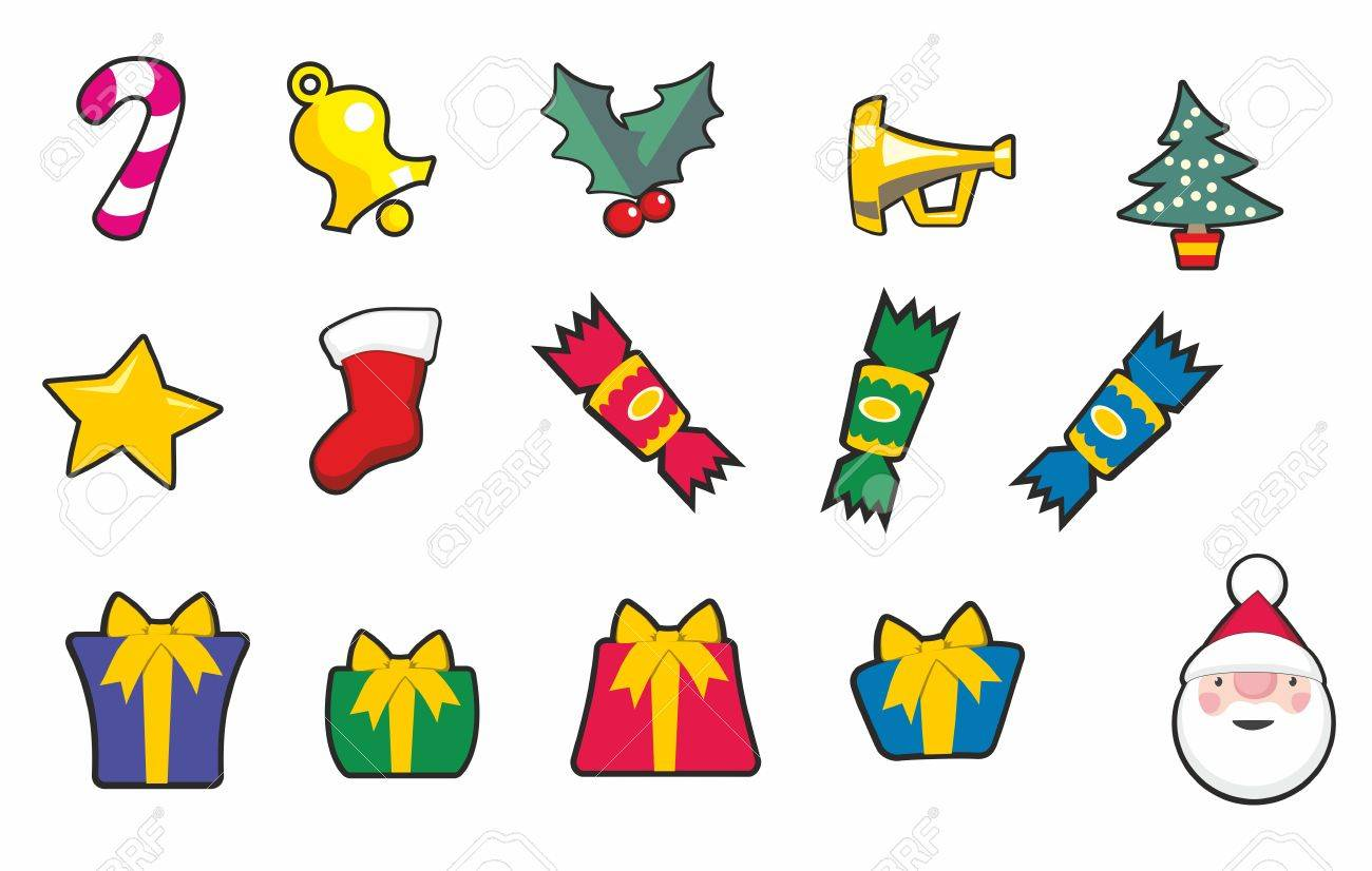 Christmas Crackers Cartoon.Set Of Christmas Cartoon Icons Including Crackers Presents