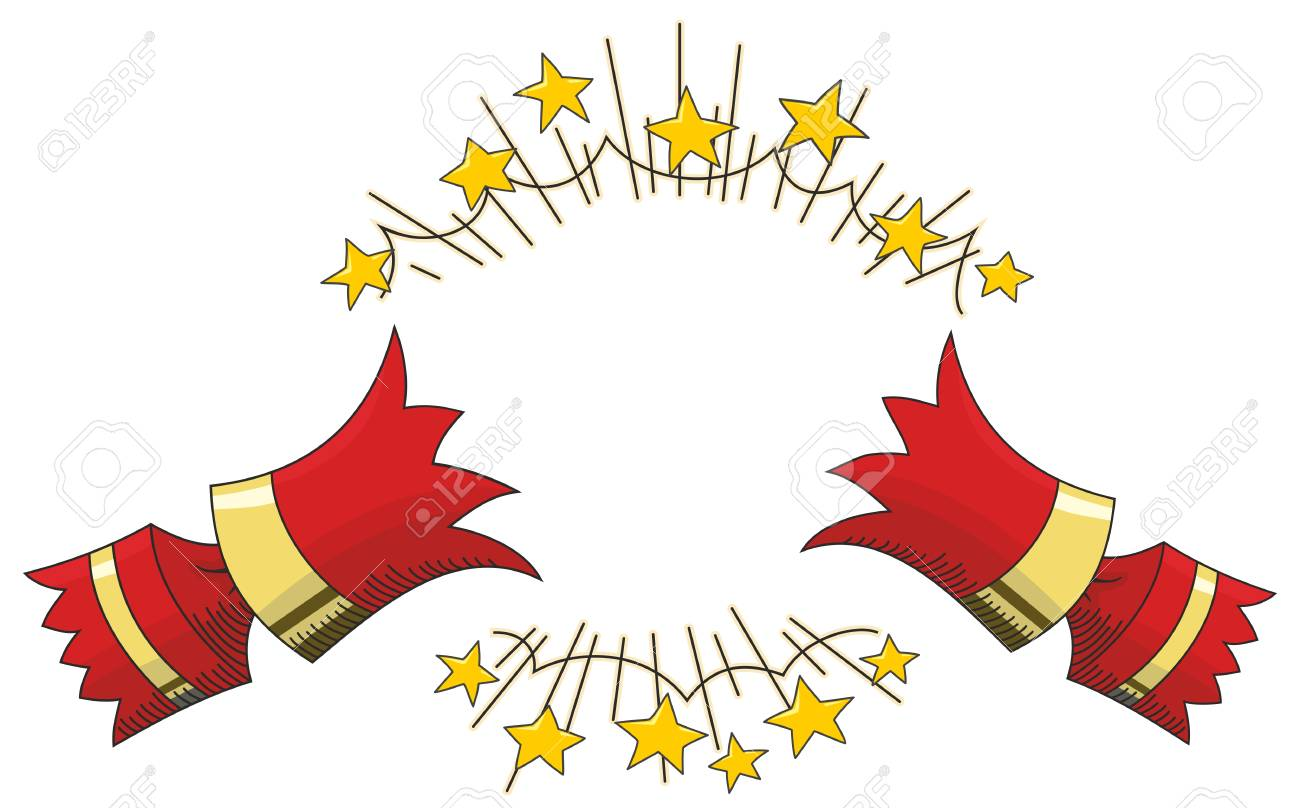 Christmas Cracker Vector.Red Christmas Cracker Pulled Open With Gold Stars Line Illustration