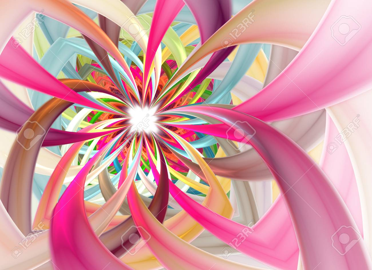Spiral Petal Fireworks Computer Generated Image Abstract Fractal Of Beautiful Flower Of Ribbons Background For Wallpaper Album Poster Booklet