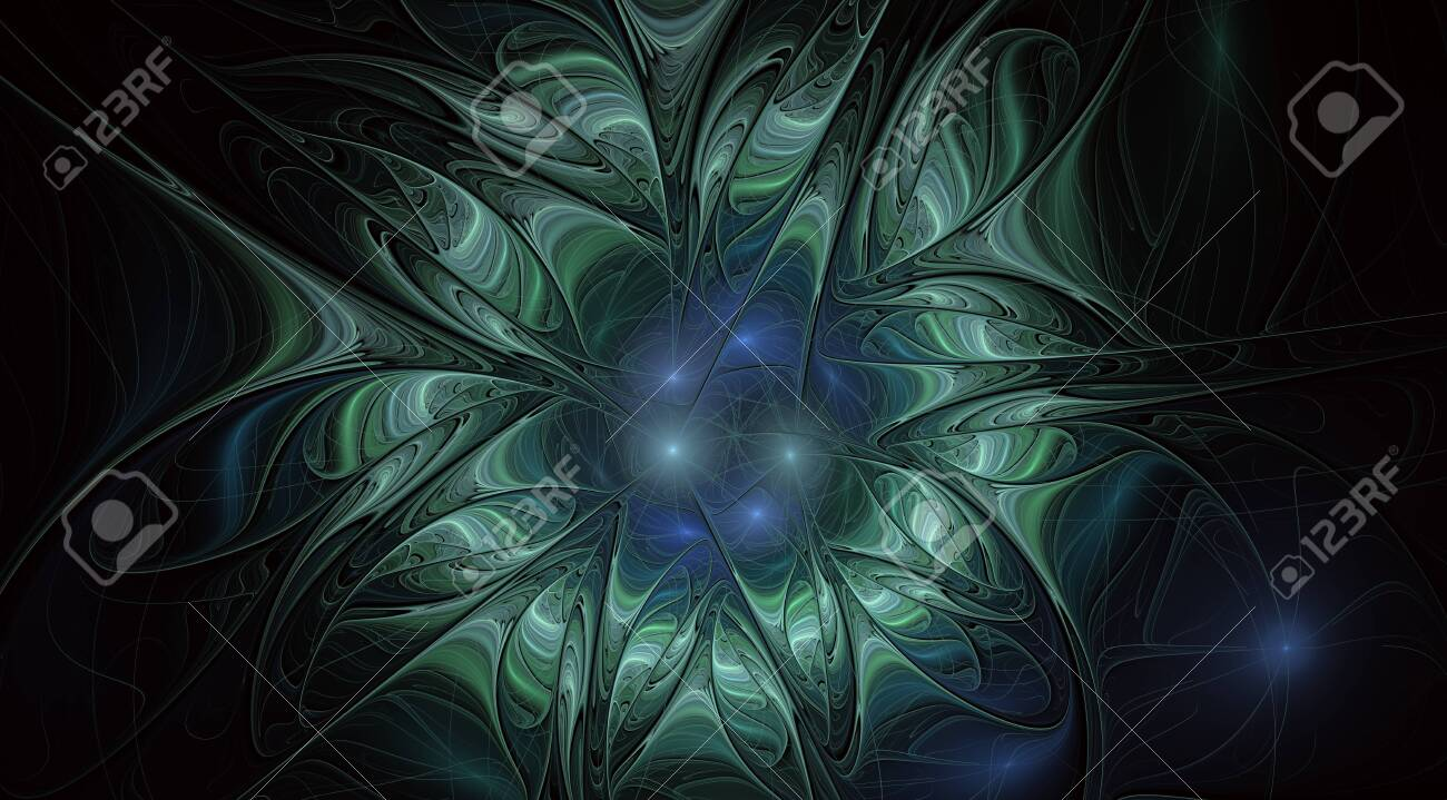 Fantasy artistic flower with lighting effect. Beautiful shin. Futuristic bloom. An abstract computer generated modern fractal design on white background. Digital art design element. - 128107314