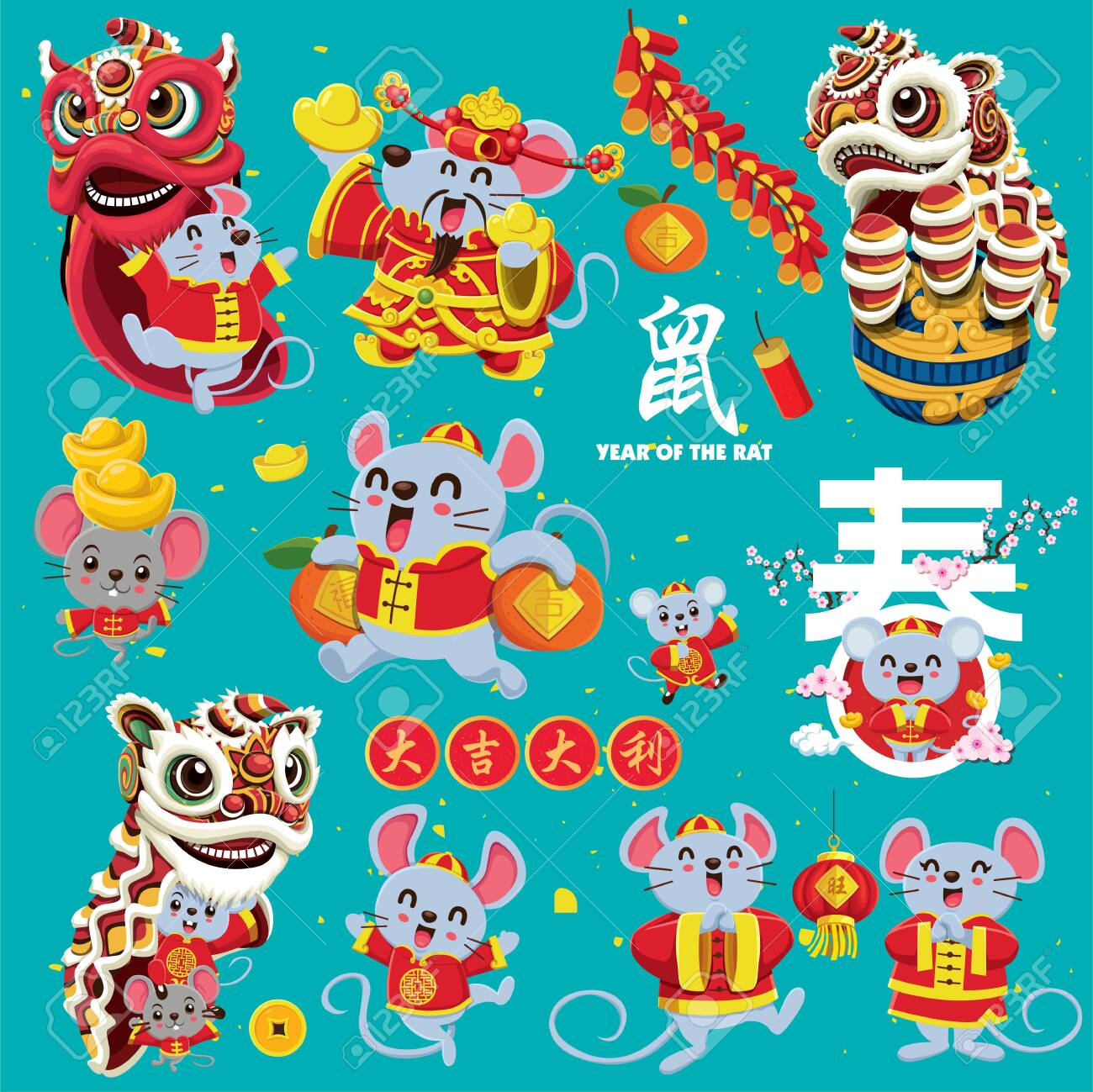 Vintage Chinese new year poster design set. Chinese text translation: Welcome new year spring, wishing you prosperity and wealth, welcome god of wealth, small word good fortune, rat, auspicious. - 139104192