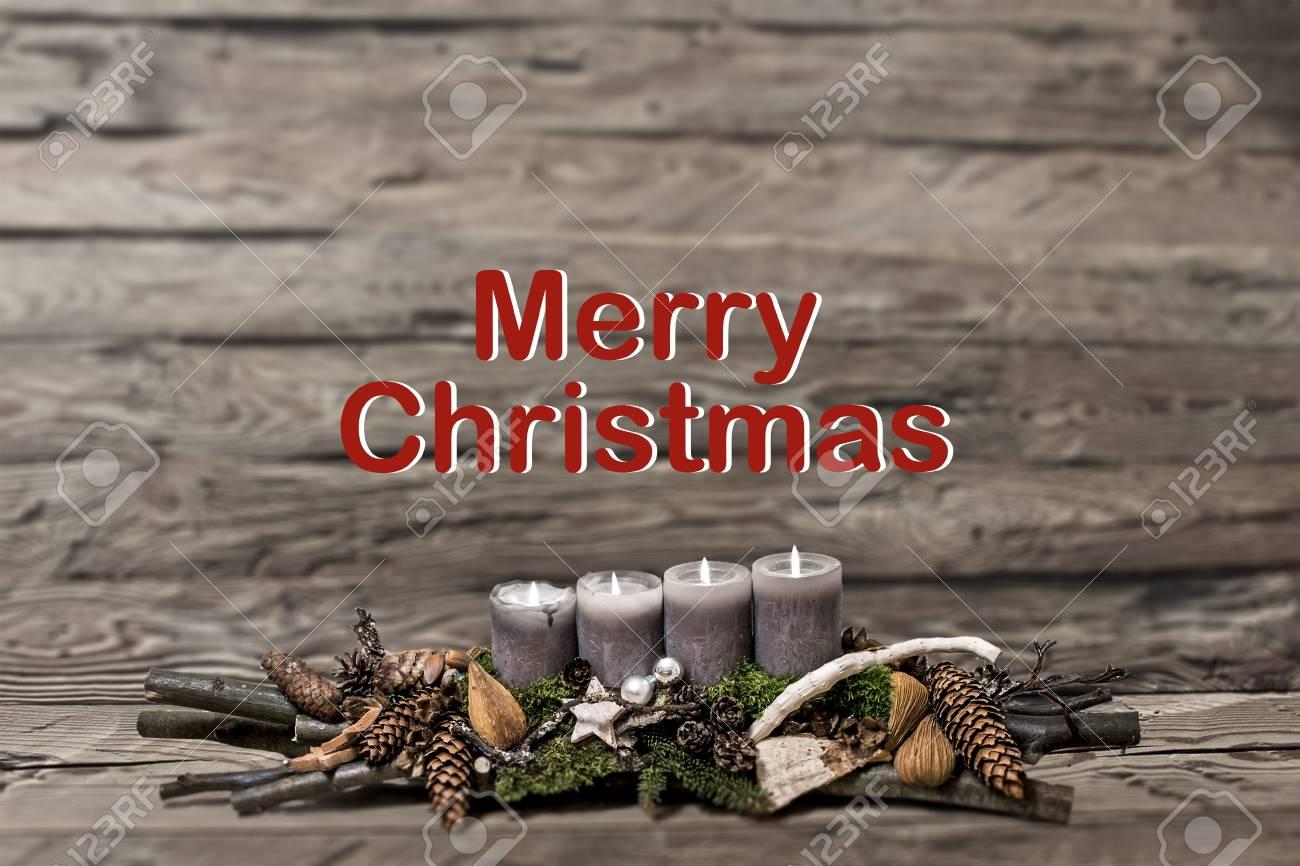 Frohe Weihnachten Dekoration Mit Brennenden Kerze Grau Textnachricht ...