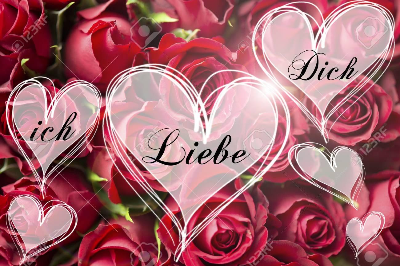 foto de archivo ramo de rosas un mensaje de amor alemn en corazn corazones de luz tarjeta de san valentn