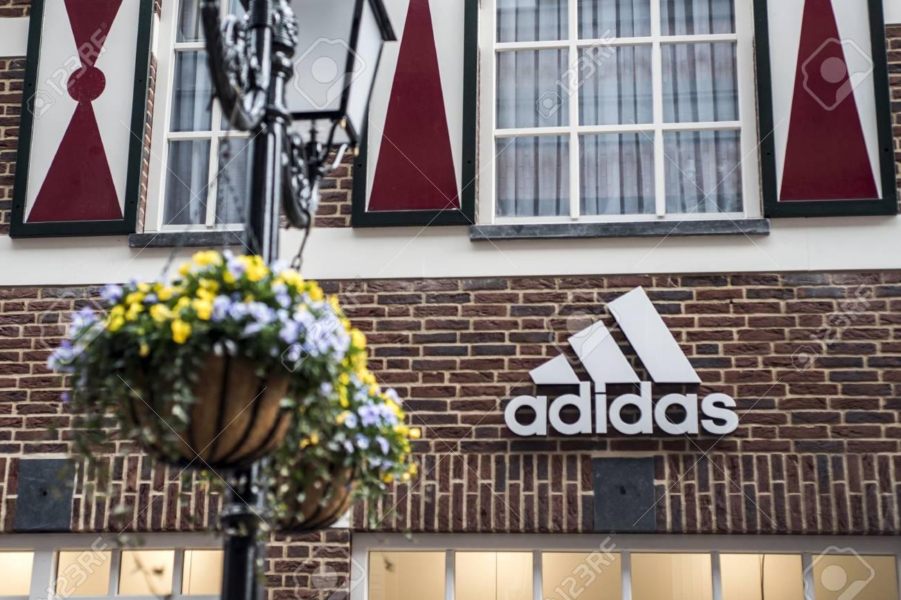 Roermond Netherlands 07.05.2017 Logo of the adidas brick house..