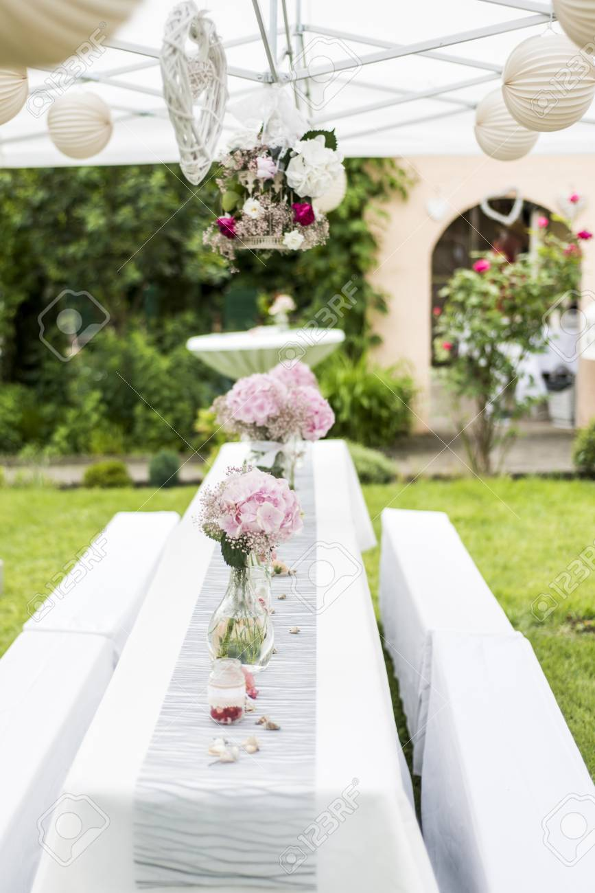 Flowers Settings Decoration Outdoor Setup For A Wedding With Stock