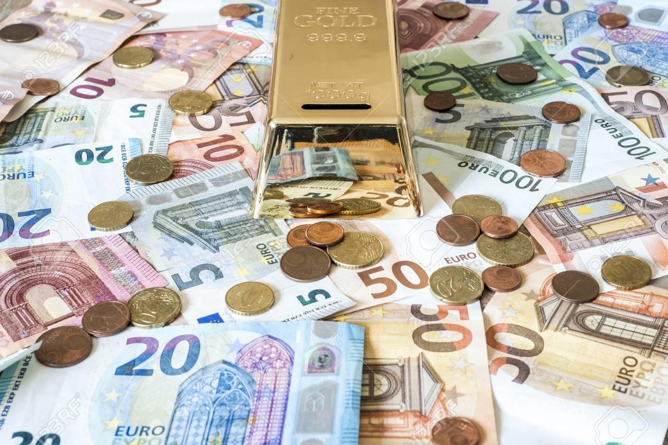 Einsparungen Bargeld Geld Konzept Euro Banknoten Aller Größen Und