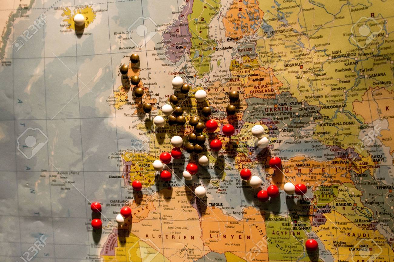 World Map Travel Pins.Picture Of World Map Travel Concept With Many Pushpins Pins Europe