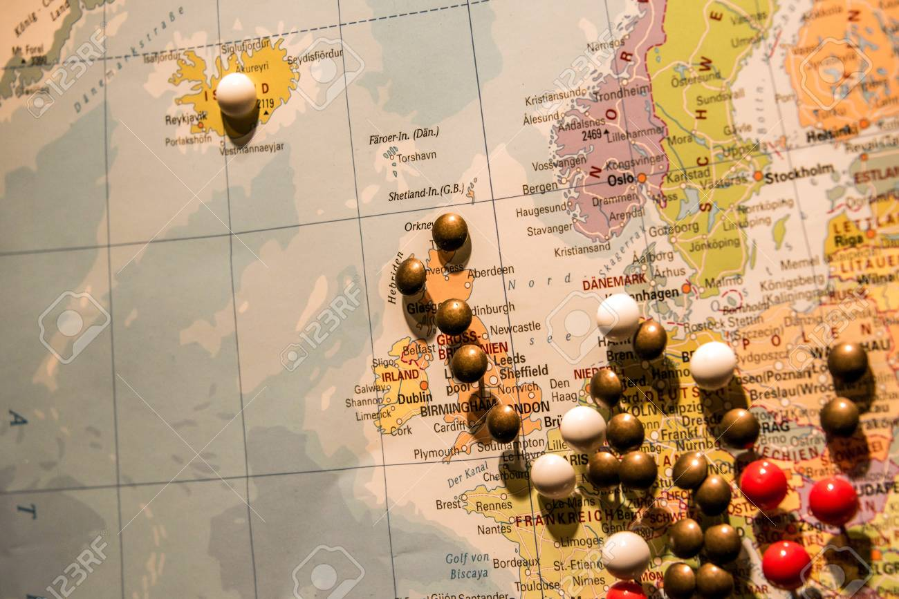World Map Travel Pins.Picture Of World Map Travel Concept With Many Pushpins Colored