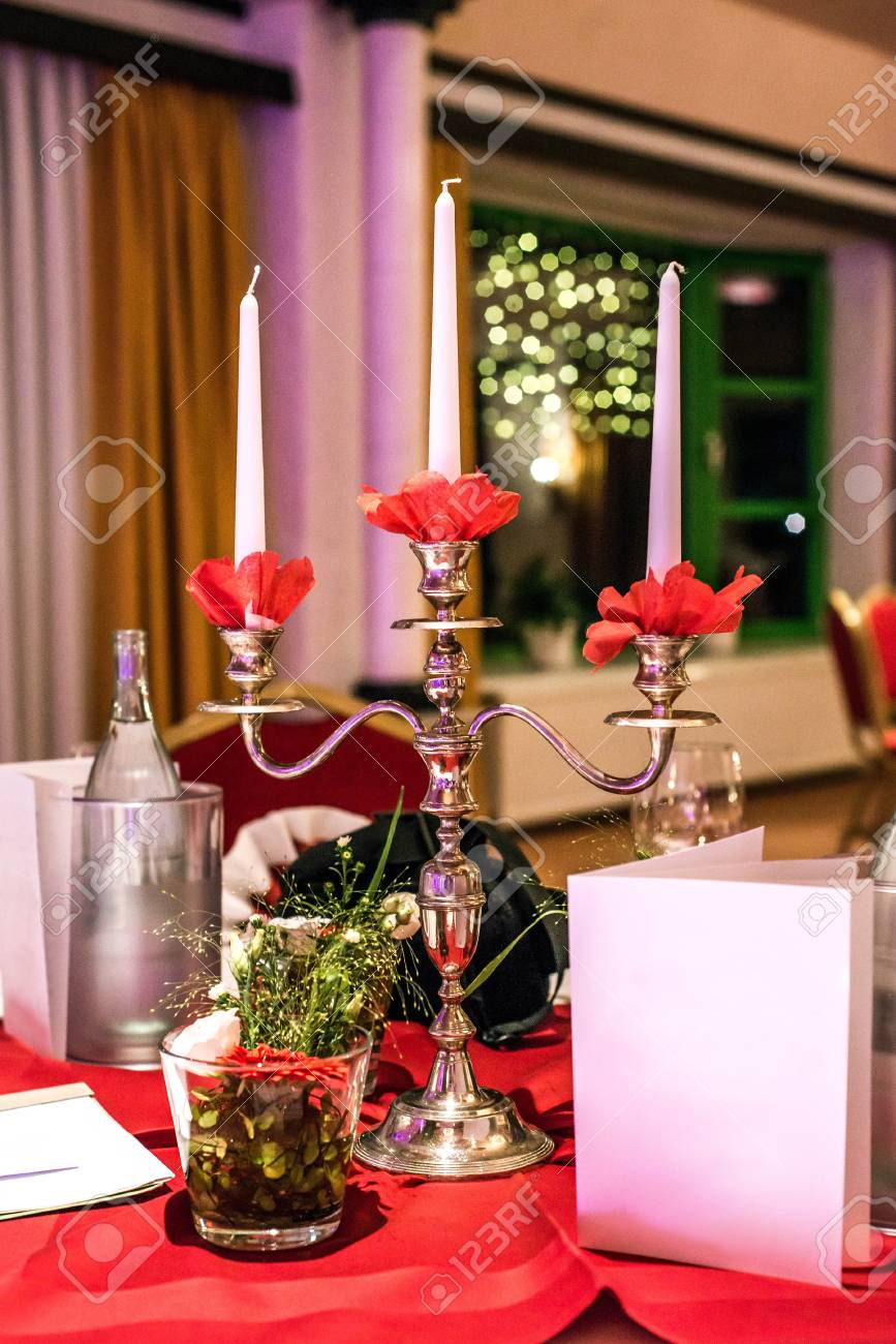 Banquet With Red Table Setting Tablecloth White Dishes Silver ...