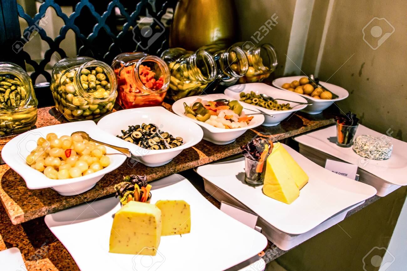 Variety Food Buffet Table Wine Snack Set Olives Cheese And Stock Photo Picture And Royalty Free Image Image 115563147