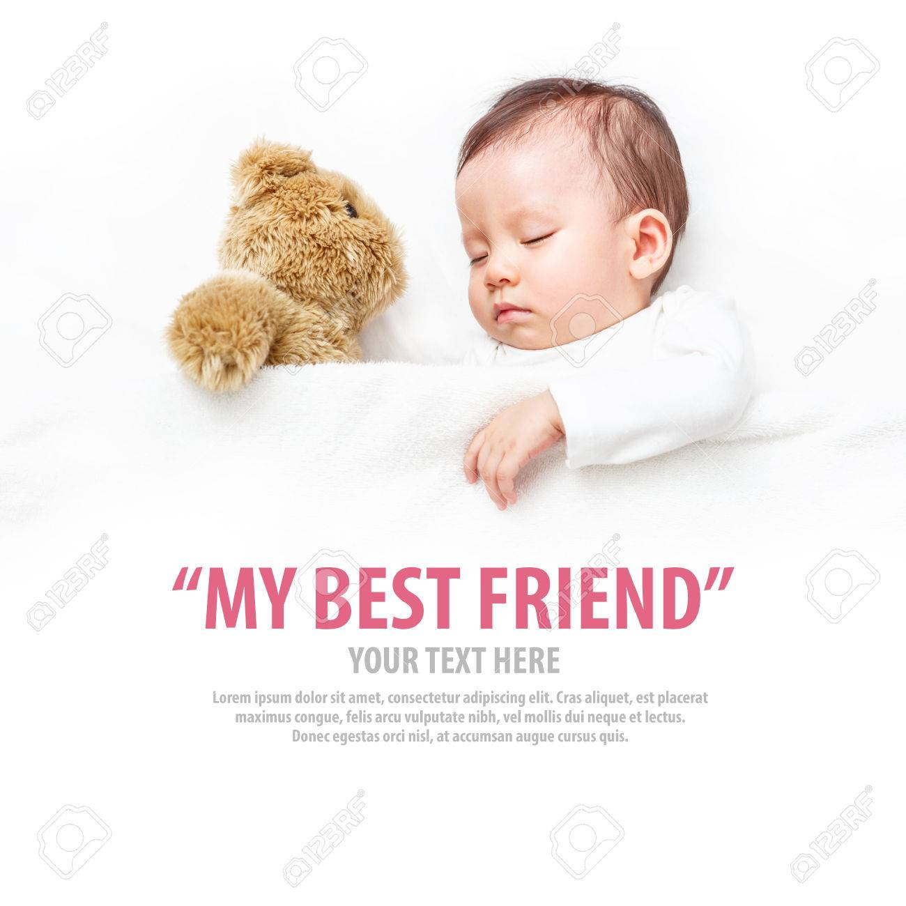 Baby sleeping with her teddy bear, new family and love concept. - 66971047