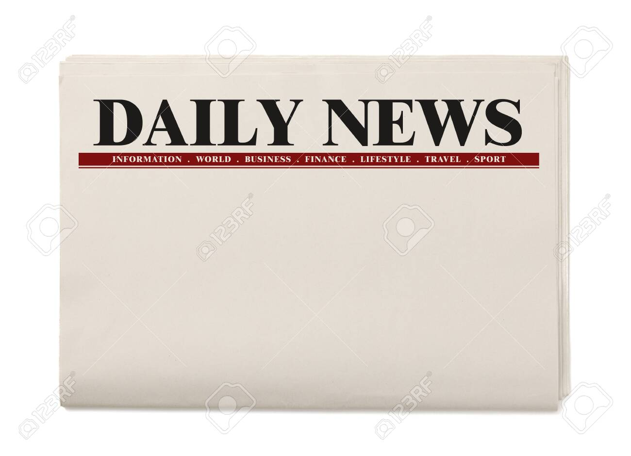Blank Daily Newspaper isolated on white background, Daily Newspaper mock-up concept - 129785293