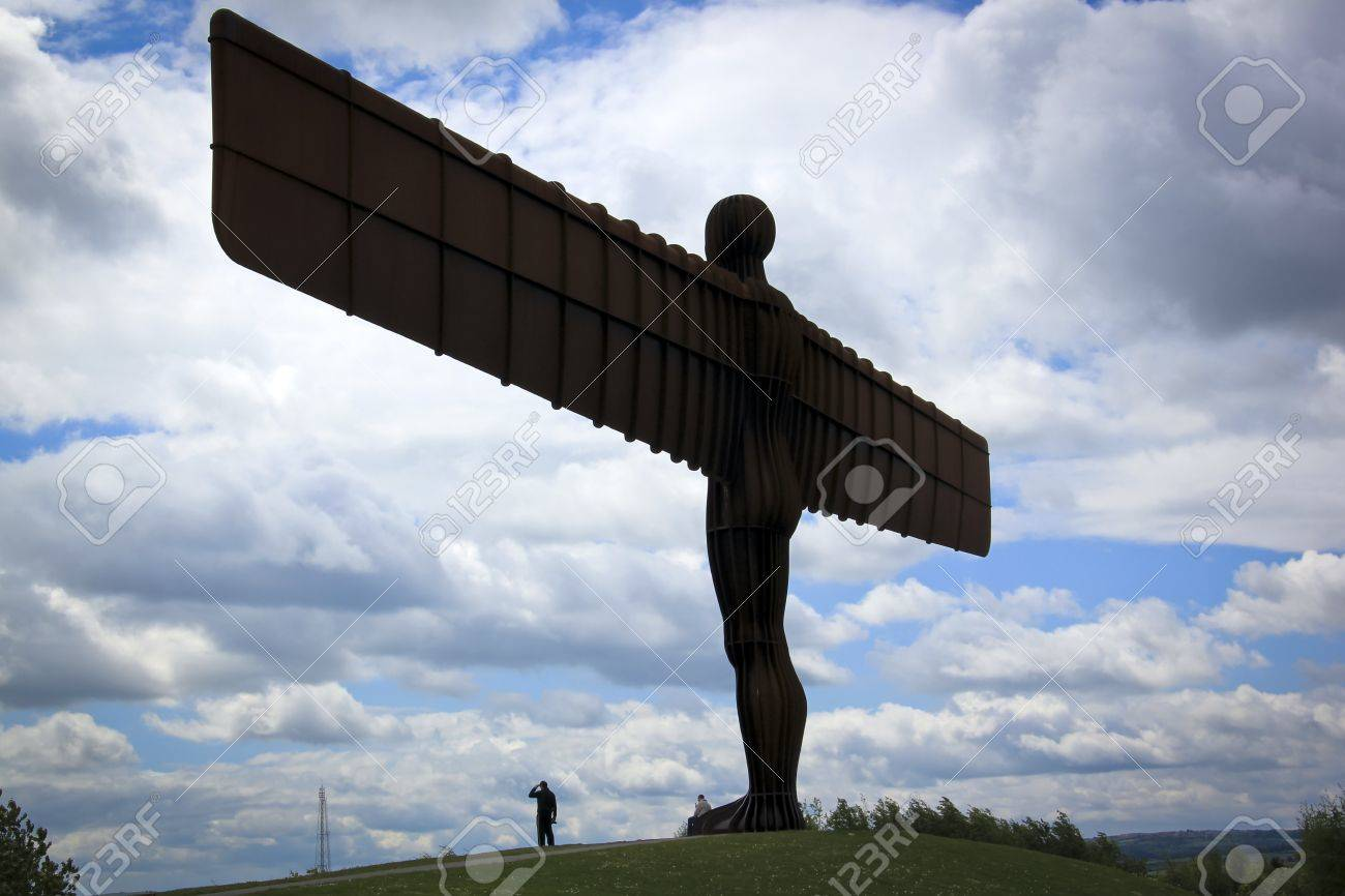 the angel of the north sculpture in gateshead northeast england on a hill overlooking the main a1 road Stock Photo - 7150811