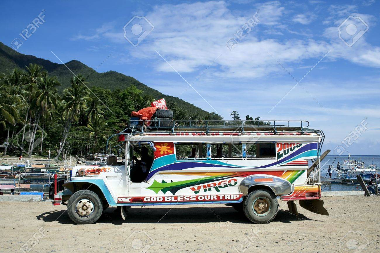 Local public transport in the philippines a colorful jeepney parked in sabang port palawan iland