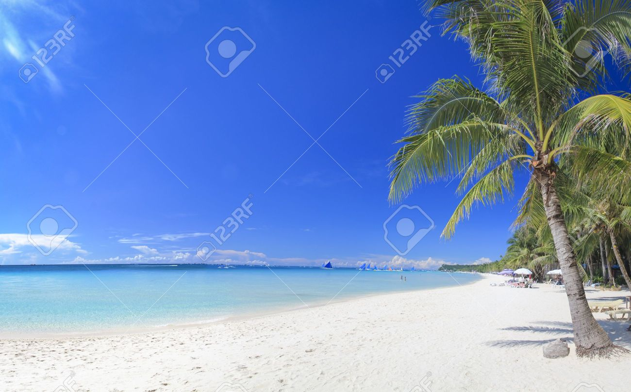 panoramic view of white beach on boracay island in the philippines Stock Photo - 15774832