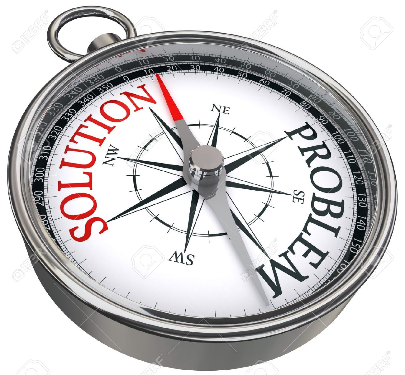 red solution vs black problem opposite ways concept compass isolated on white background Stock Photo - 10941399