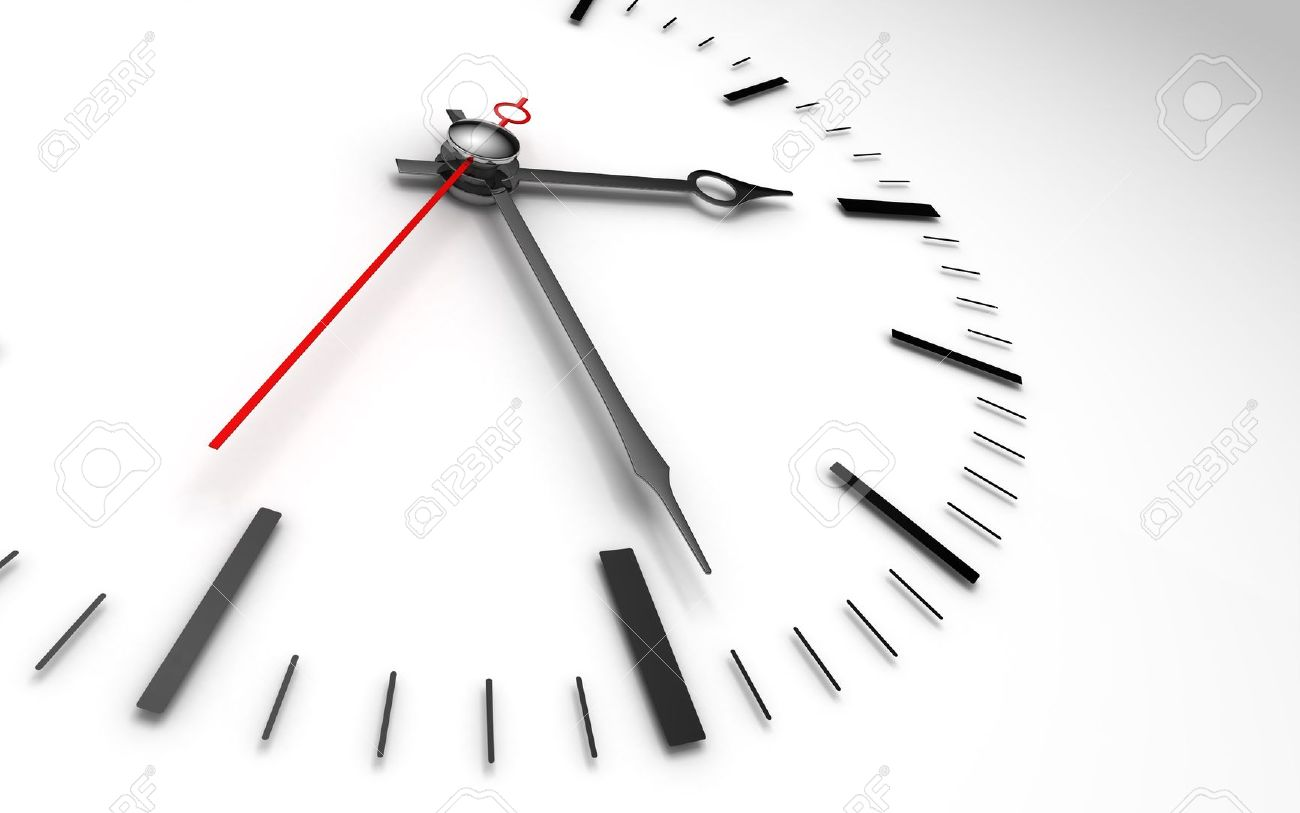 Time Concept Clock Closeup On Whte Background Showing Three And ...