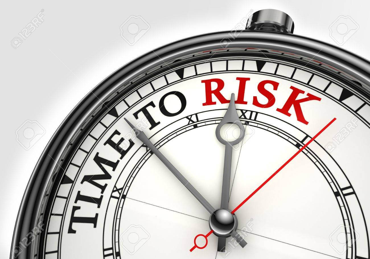 risk time concept clock closeup on white background with red and black words Stock Photo - 11515332