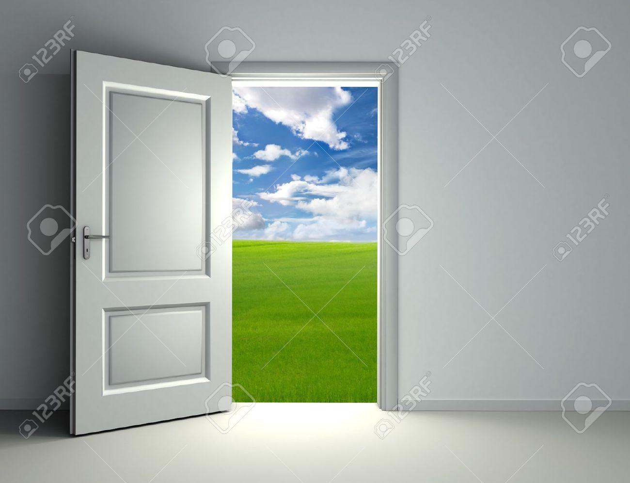 Open front door from inside - Open The Door White Open Door Inside Empty Room With View To Green Field And
