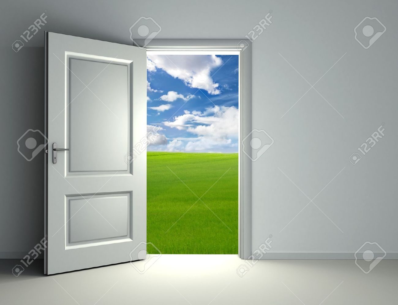 Stock Photo - white open door inside empty room with view to green field and cloud sky background : door view - pezcame.com
