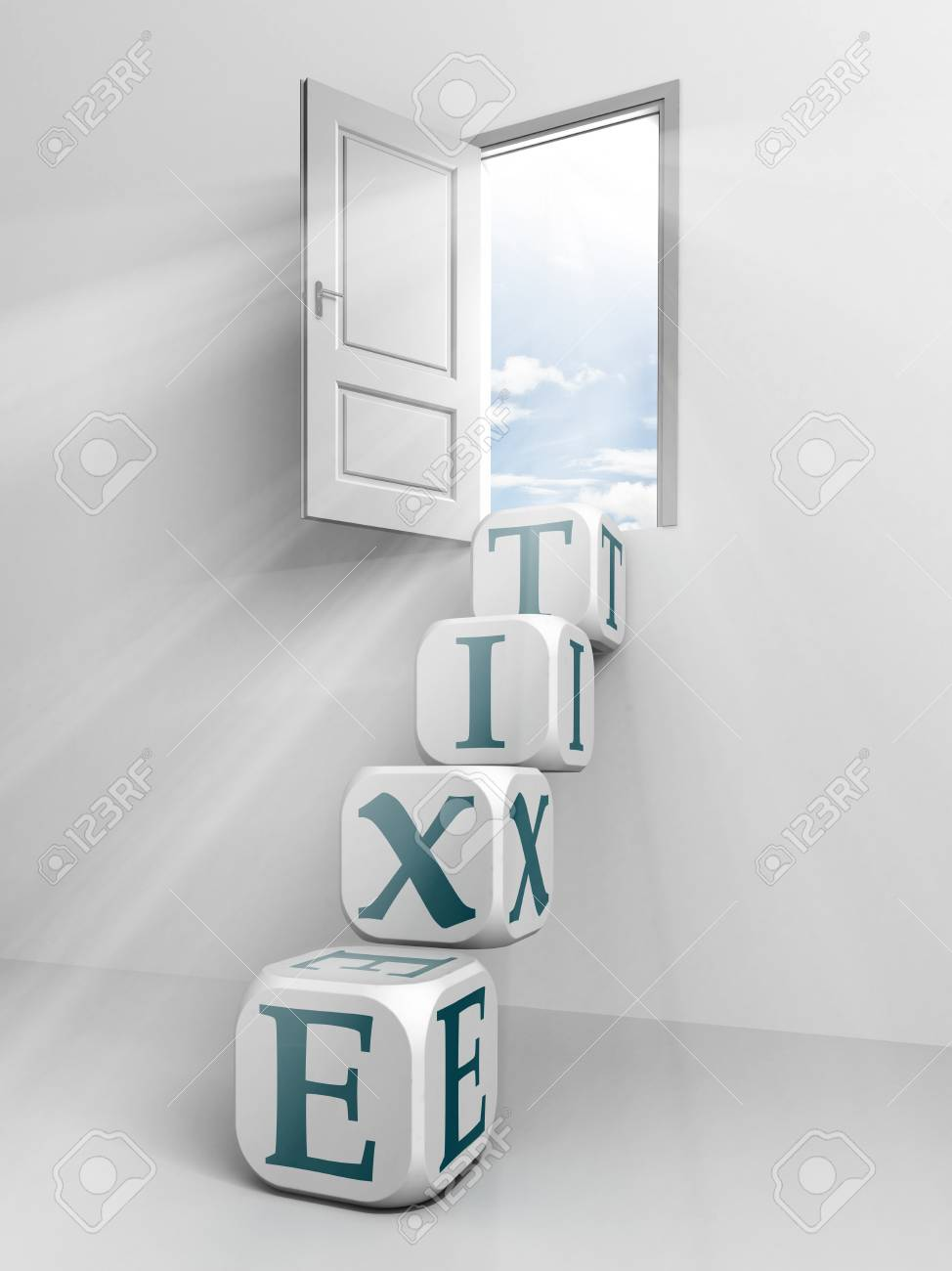 exit conceptual door and box ladder in white room Stock Photo - 11810556