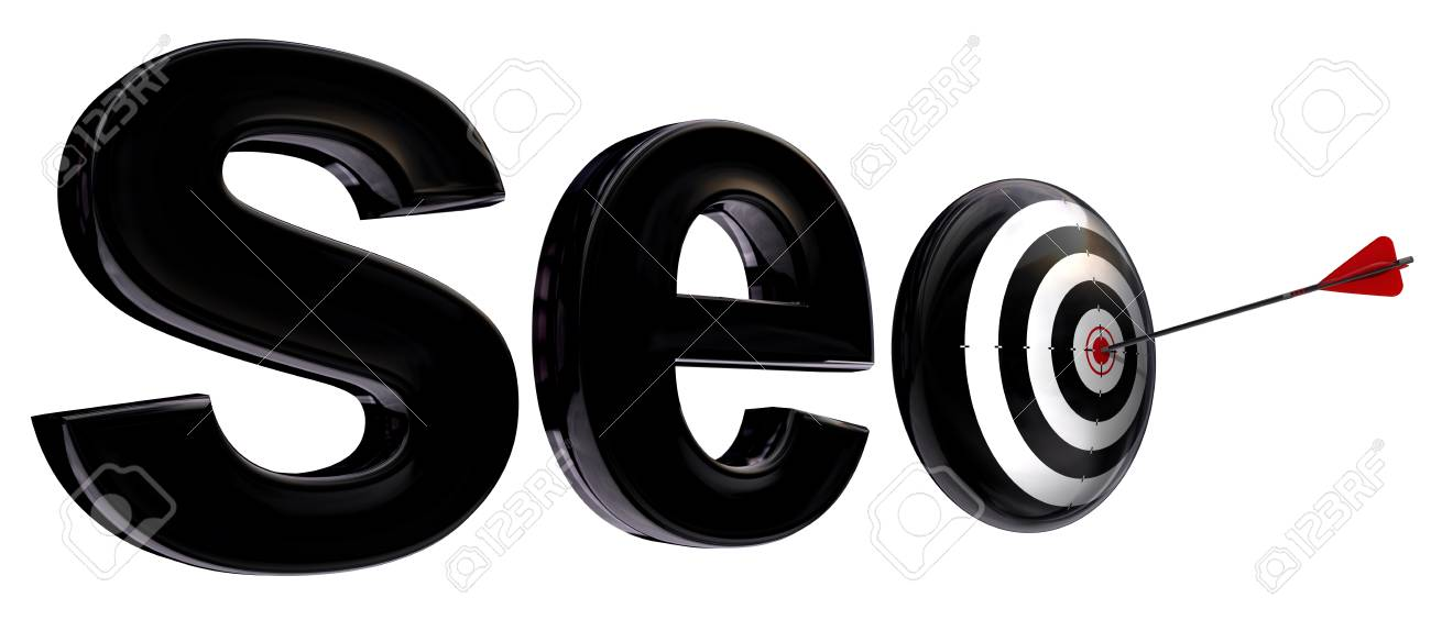 seo 3d word and target with arrow isolated on white background Stock Photo - 11810547