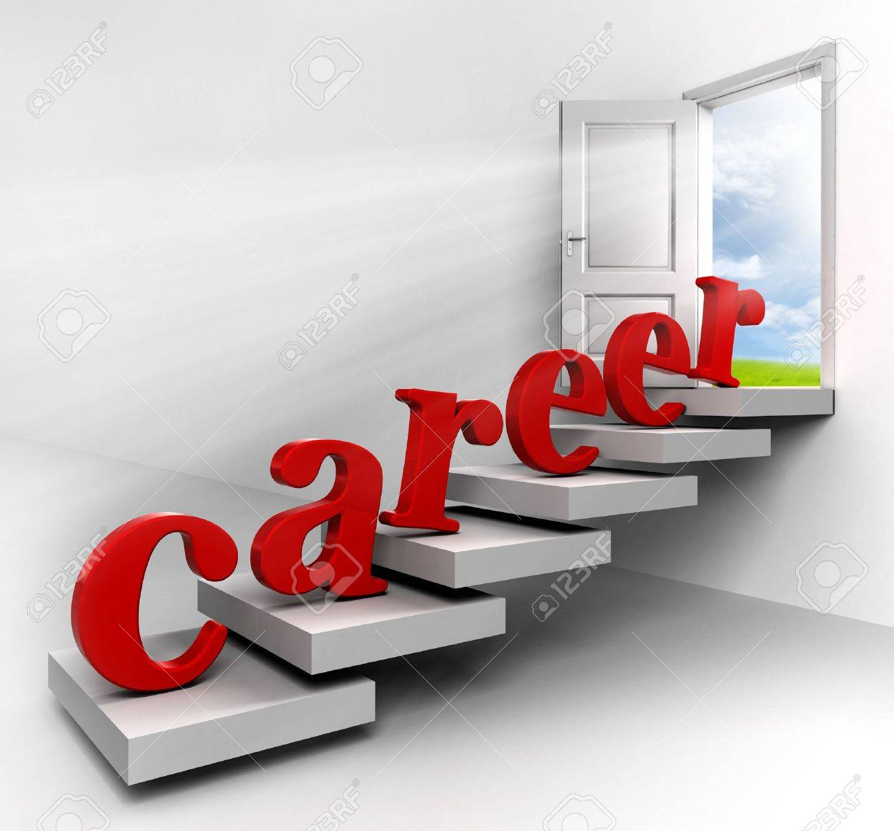 Career Ladder Red Word On Stair Up To Open Conceptual Door With View