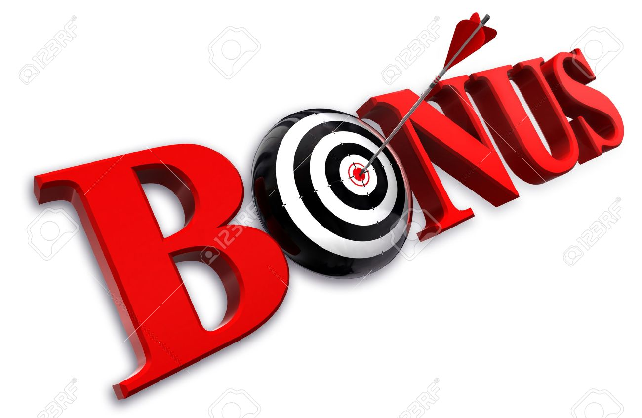 bonus red word and conceptual target with arrow on white background Stock Photo - 12117859